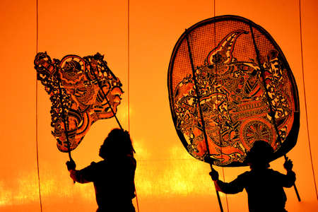 The Grand Shadow Play  Thai shadow puppet art at Rachaburi province, Thailand