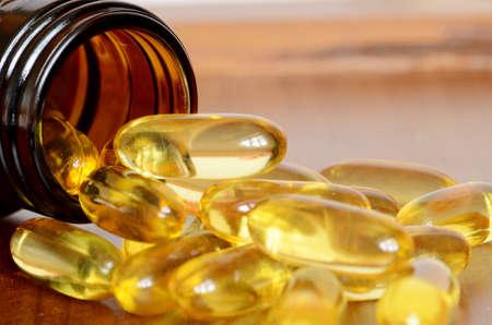 Soft gelatin dietary supplement oil capsule  Stock Photo