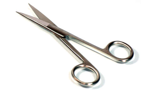 Surgical scissors on white background
