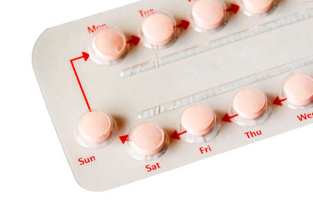 Contraceptive Pill with English Instructions isolated on white background with clipping path