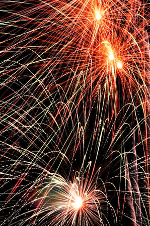 abstract background of explosion line of firework in closed-up on dark sky  photo