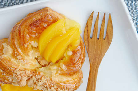 Danish pastry topping with peach