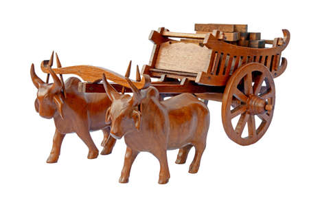 bullock animal: Teak wood craved cow and the carts