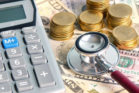 Checking money status in financial concept and healthcare concept