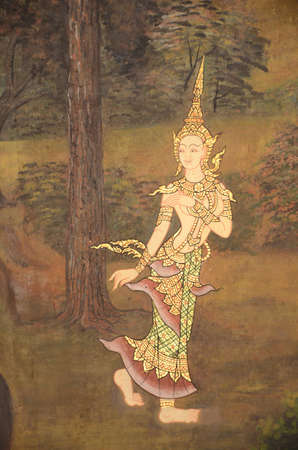 exquisite fairy: Thai mural painting with tempera colors and gilding  Editorial