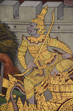 Thai mural painting with tempera colors and gilding  Editorial
