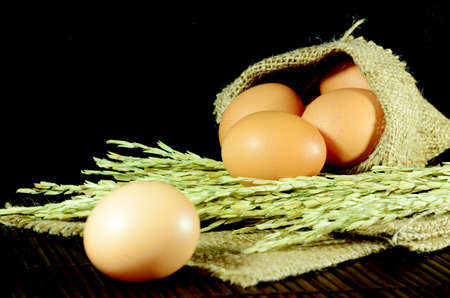 Organic eggs in burlap sac and paddy on dark background