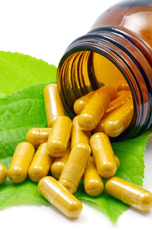 Tumeric Powder in Transparency Hard Gelatin Capsules Contain in Amber Glass Light resistant Bottle