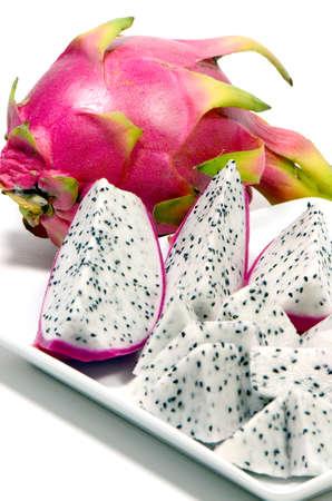 brit: Dragon Fruit  Hylocercus undatus  Haw  Brit    Rose   a Certain Kind of Cactus Fruits Isolated