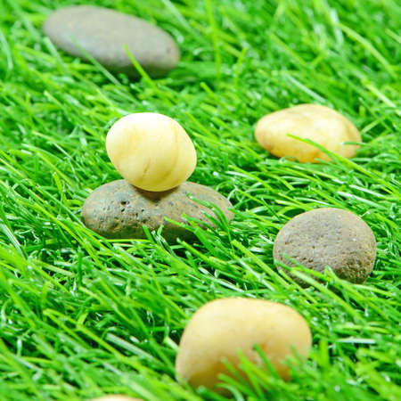 Good Quality Artificial Turf Decorated with Natural Rock  Stock Photo