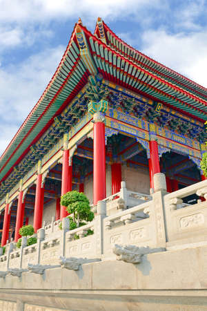 Chinese roof pattern of grand Chinese Temple with fantastic design, pattern and color  photo
