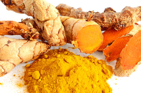 gastro: Tumeric  Curcuma longa L   root and tumeric powder for alternative medicine and spa products