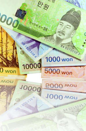 Current Use of South Korean Won Currency in Different value  Stock Photo