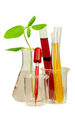 Set of laboratory equipment and chemical solutions isolated photo