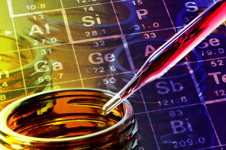 prophylactic: Periodic table of Elements, Bottle and Dropper in Laboratory Experiment