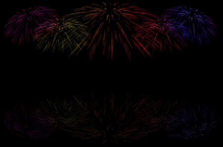 closedup: abstract background of explosion line of firework in closed-up on dark sky.