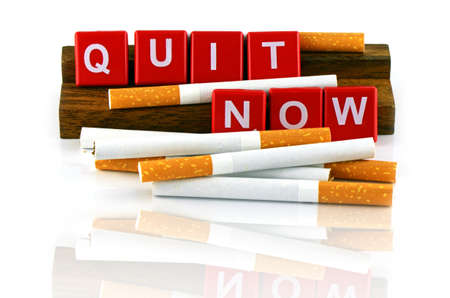 quit: Quit Smoking Concept. Quit Smoking Now. No Smoking Campaign Banner isolated on White Background.