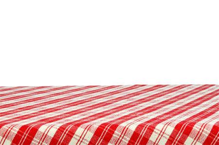 Picknick-Tisch mit Tischdecke isoliert auf weißem Hintergrund mit Beschneidungspfad.