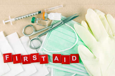 first aid kit: Medical Supply, Medical Emergency, First Aid Kit. Stock Photo