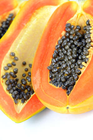 vitamin rich: Ripe papaya, Pawpaw orTree melon (Carica papaya L) which Rich in Betacarotene, Vitamin C, Fiber and Papain Enzyme. Stock Photo