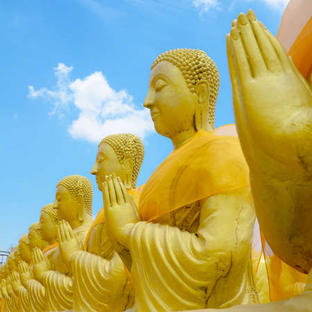 ancient pass: Statue of Saint Priest in Buddhism with Bright Sky Background.