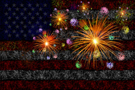 fires artificial: Firework celebration with American Flag Background.