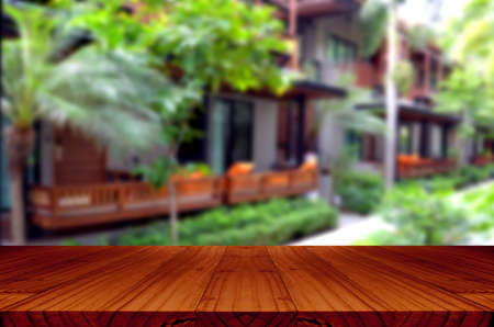 window view: Blurred backyard garden background with perspective wood window view.