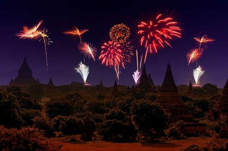 fires artificial: Firework Celebration at Old City Bagan, Myanmar.