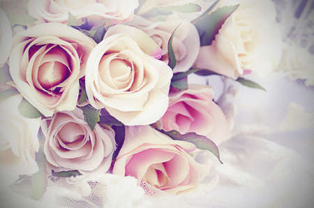 Vintage Tone Rose Bouquet Background with Noise added. Stock Photo