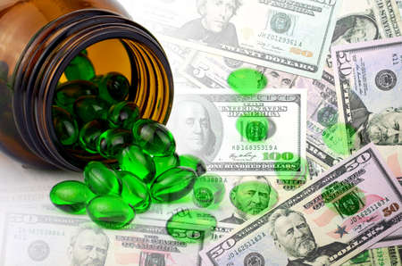 primrose oil: Pharmaceutical Business and Dollars Bank Note.