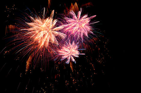 fires artificial: Firework celebration on dark background.