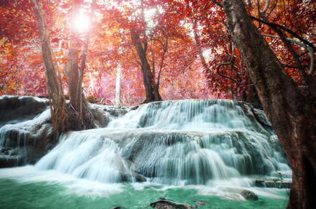 spruit: Beautiful scenic of waterfall with autumn forest.