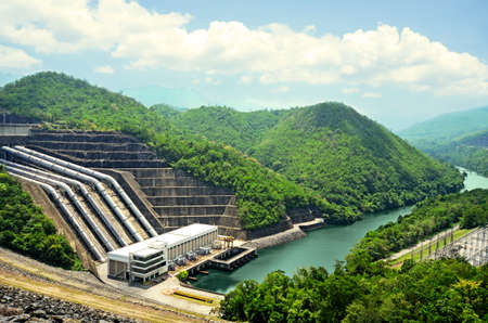 downstream: Clean energy by hydropower plant from downstream water. Stock Photo