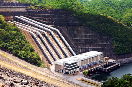 hydropower: Clean energy by hydropower plant from downstream water. Stock Photo