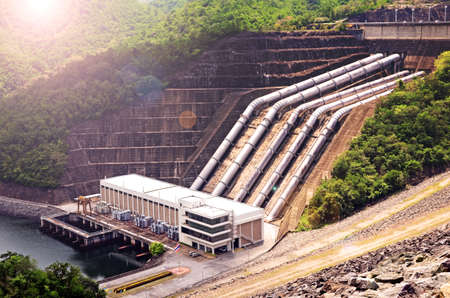 Clean energy by hydropower plant from downstream water. Stock Photo