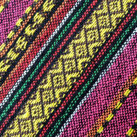 thailand fabrics: Tribal handmade woven cotton fabrics form Chiengmai, Thailand. Pattern for design element. Stock Photo