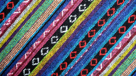lappet: Tribal handmade woven cotton fabrics form Chiengmai, Thailand. Pattern for design element. Stock Photo