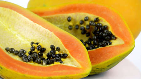 c vitamin: Ripe papaya, Pawpaw or Tree melon (Carica papaya L) which Rich in Betacarotene, Vitamin C, Fiber and Papine Enzyme.