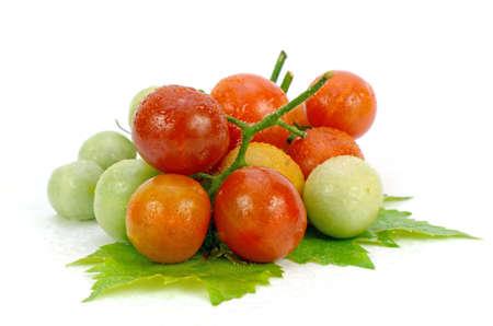 lycopene: Fresh Tomatoes on White Background.