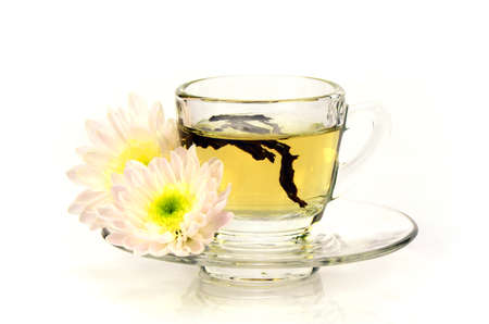 pestel: Chinese Tea with Chinese Herbal Medicine on White Background.