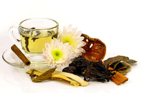 Chinese Tea with Chinese Herbal Medicine on White Background.