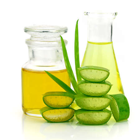 Aloe vera hair and facial treatment paste mask ingredients on white background.