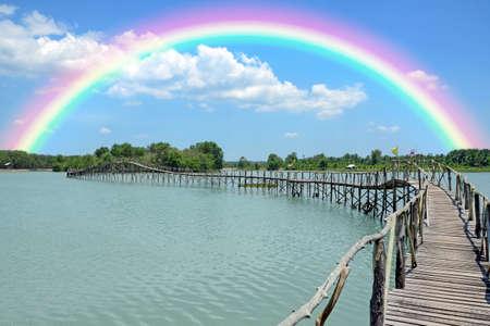 manmade: Manmade wooden bridge over the lake.