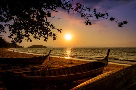 sunsets: Summer sunsets at Andaman seaside, Krabi province, Southern Thailand.