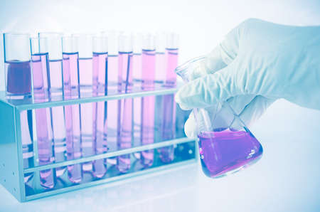 interactions: Chemistry lab. with chemical reagent. Laboratory background.