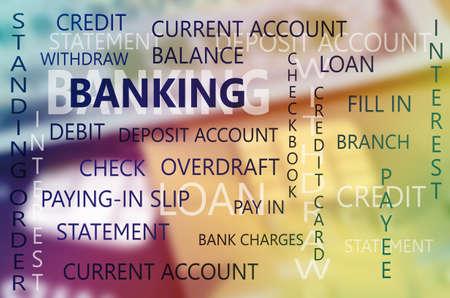 chequera: Banca de Empresas Telón de fondo esencial con los dólares del billete de banco y del fondo de tarjeta de crédito.