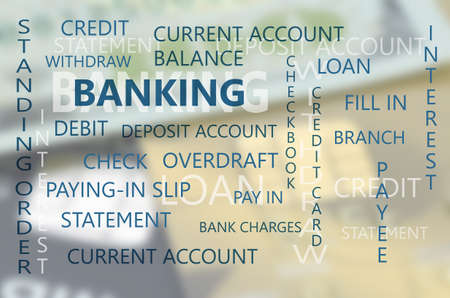 current account: Banking Business Essential Backdrop with Dollars Banknote and Credit Card Background. Stock Photo