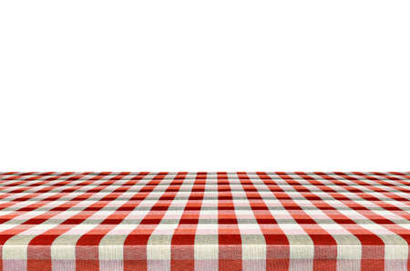 Picnic table with tablecloth isolated on white background Stock Photo