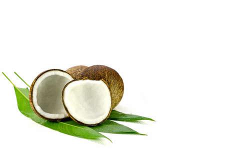 Coconut (Cocos nucifera). Cut coconut shell with fresh organic coconut kernel redy for make coconut milk and cold press coconut oli.