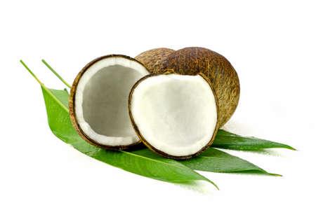 cocos: Coconut (Cocos nucifera). Cut coconut shell with fresh organic coconut kernel redy for make coconut milk and cold press coconut oli.